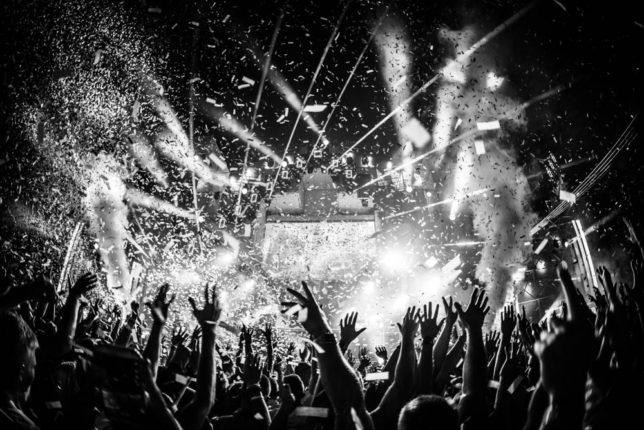 Commercial Advertisement Ad Photoshop Photography Music Concert Festival Tour Backstage Stage - by Julian Erksmeyer EDM Electronic Dance House Award Winning Winner Confetti MIFA Smoke Lights Hands party love