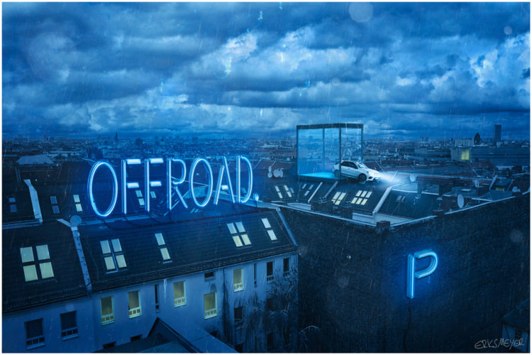 Commercial Advertisement Composing Landscape Ad Photoshop Composite 3D Photography - by Julian Erksmeyer Mercedes Benz Berlin Fun Rooftop Adventure