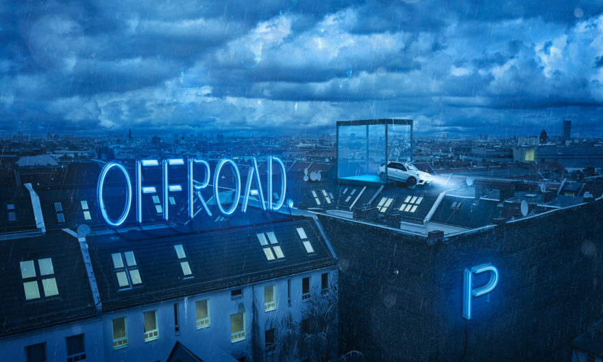 Commercial Advertisement Composing Landscape Ad Photoshop Composite 3D Photography - by Julian Erksmeyer 2016 Mercedes Car Rooftop Offroad Citylife City